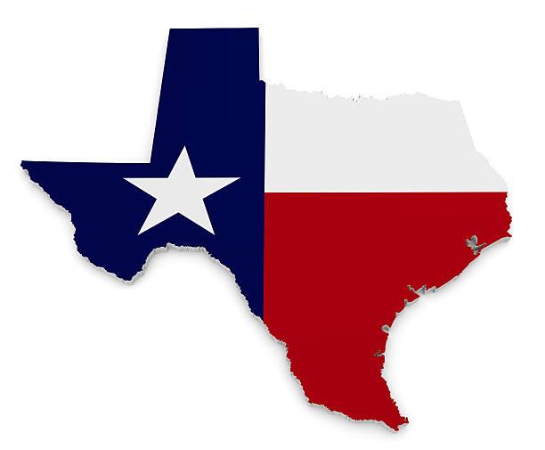 Mappa geografica e Bandiera del Texas, il