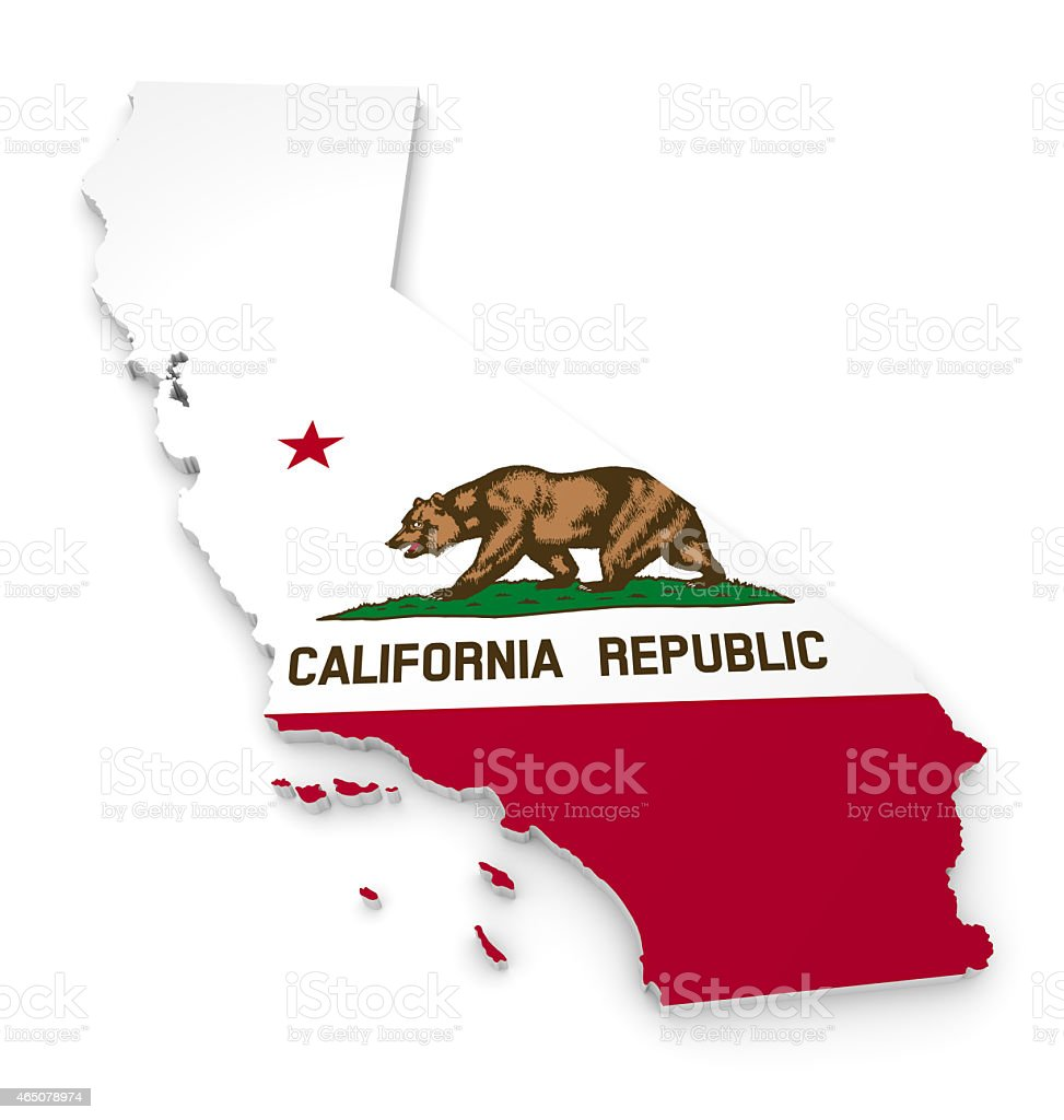 Geographic Outline Map Of California With The State Flag Royalty Free Stock Photo