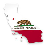 Geographic outline map of California with the state flag