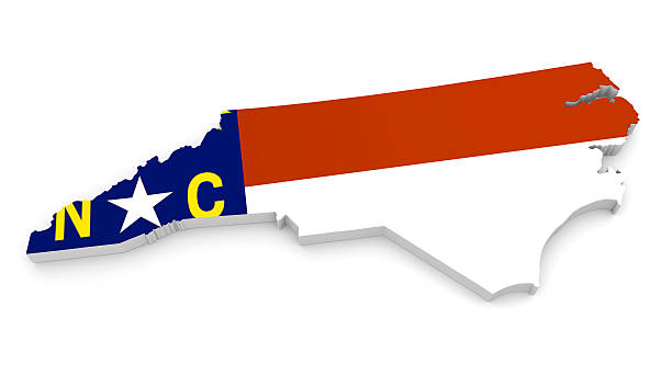 Geographic outline map of North Carolina with the state flag 3D render of the US state of North Carolina painted with its flag. north carolina us state stock pictures, royalty-free photos & images