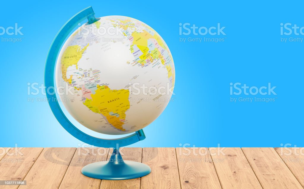 Geographical globe of Earth on the wooden table. 3D rendering. The...