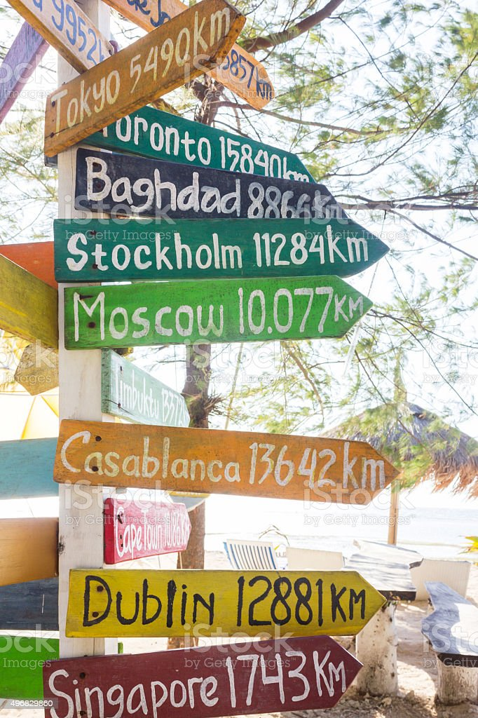 Geographical location signpost stock photo