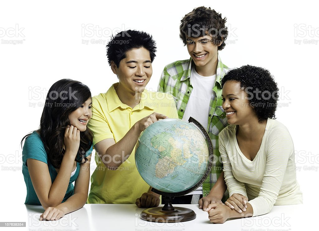 Geography Students - Isolated stock photo