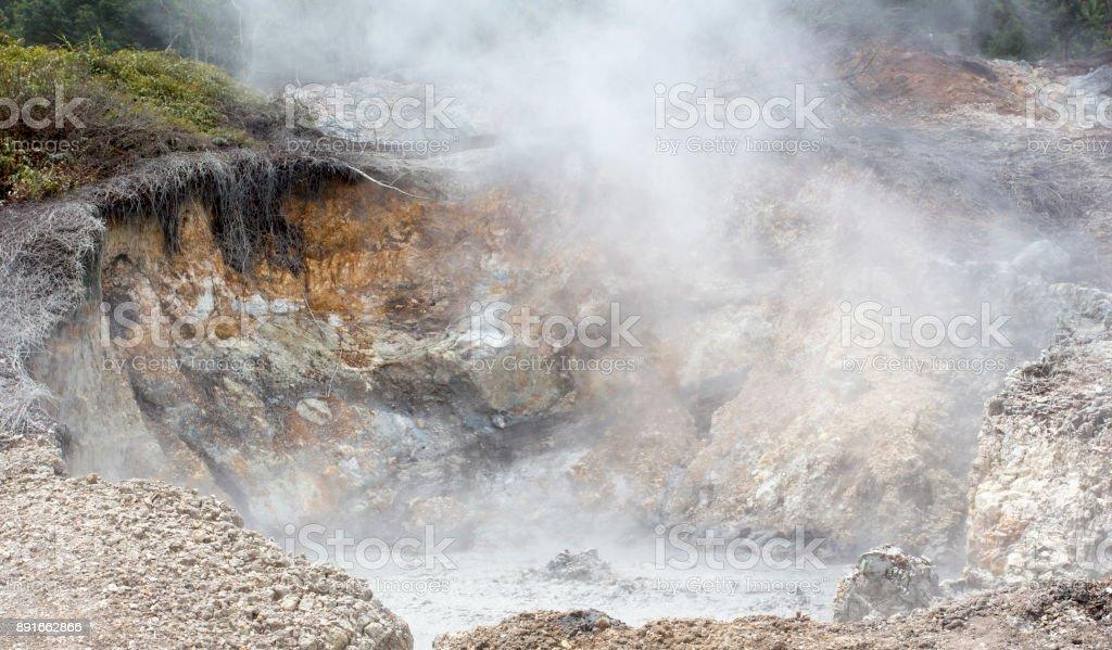 Geological activities at Linau lake stock photo