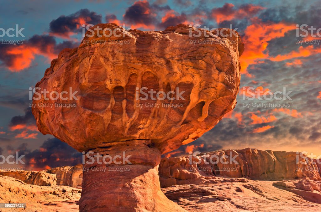 Geological formation in Timna park, Israel stock photo