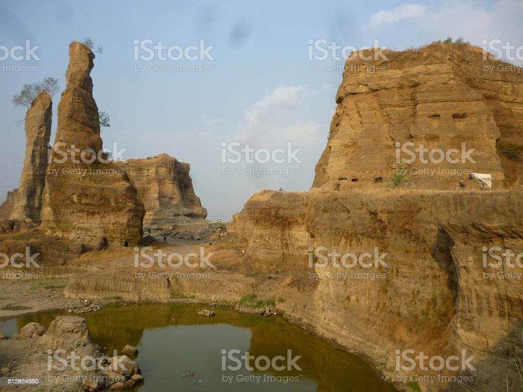 Geological formation of brown canyon, semarang stock photo