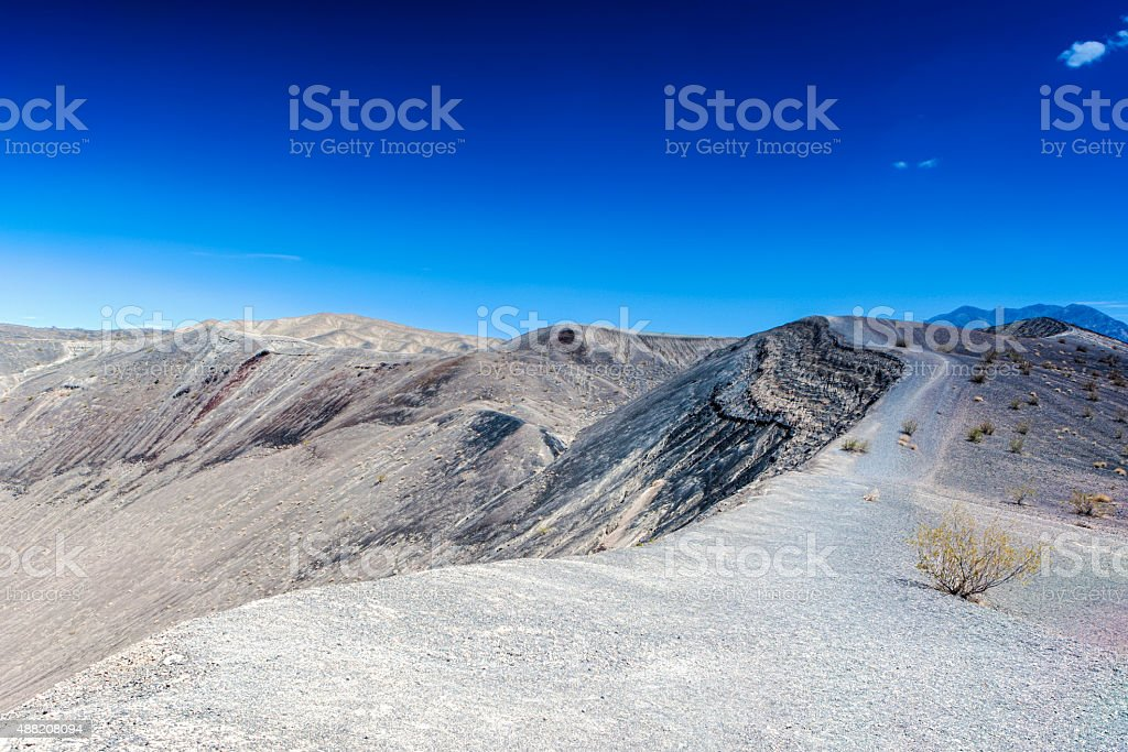 Geological Formations in Ubehebe Volcano in Death Valley National Park stock photo