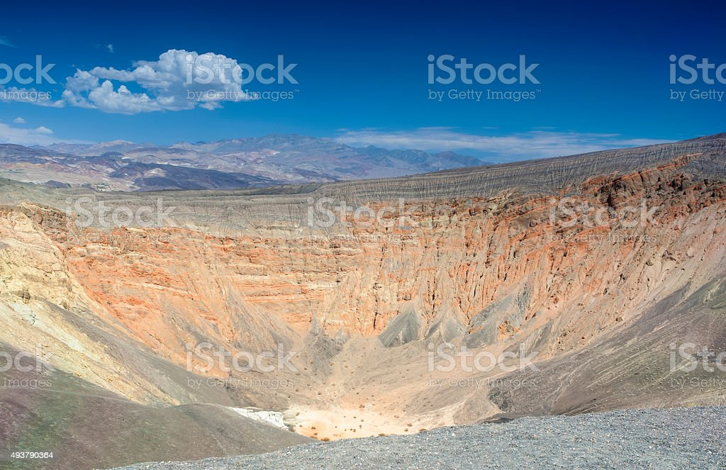 Geological Formations in Ubehebe Volcano in Death Valley stock photo