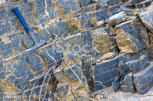 Geological hammer on the rocks