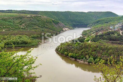 Geological landscape. The most complete section of Silurian and Devonian sediments, the geological standard of the Paleozoic age. The village of Kitaygorod and the Ternava River. Kitaygorod outcrop.