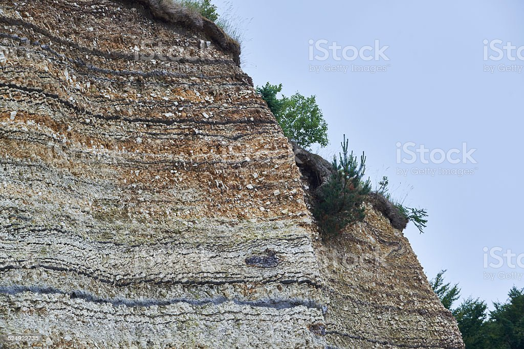 Geological layer - diatomite on the island Fur in Denmark stock photo