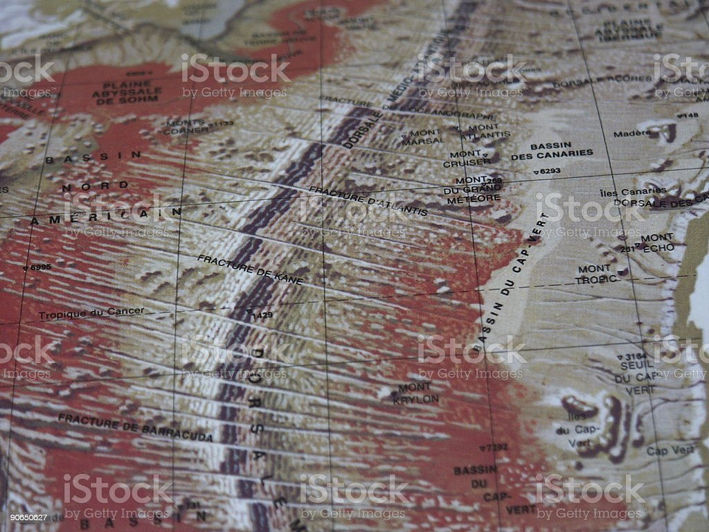 geological map of the Atlantic ocean royalty-free stock photo