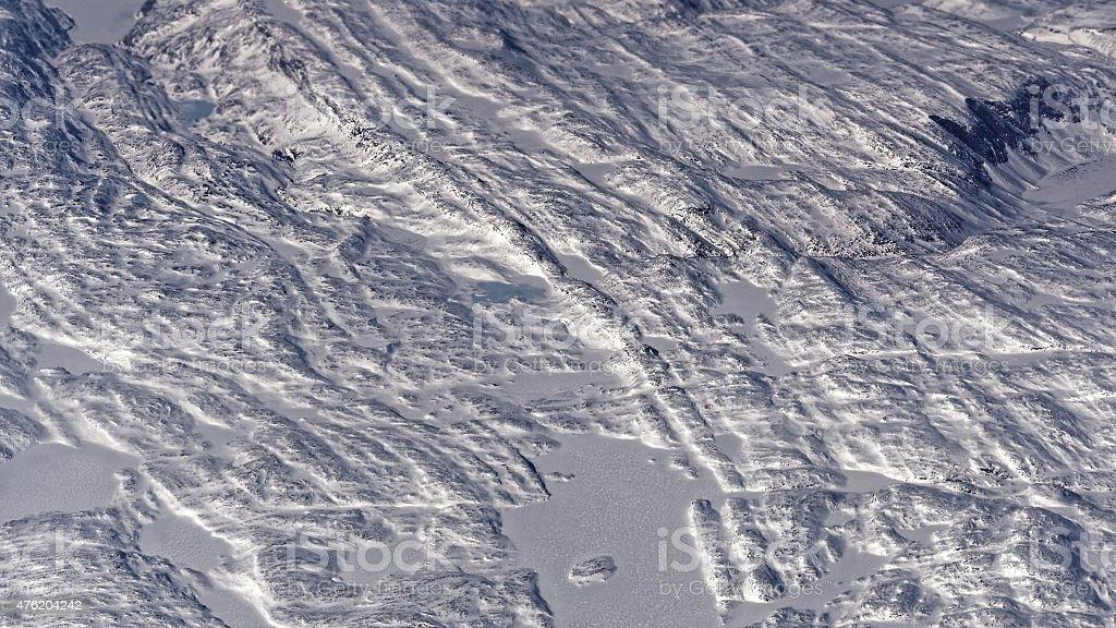Geological mountain ridges criss crossing on Baffin Island stock photo