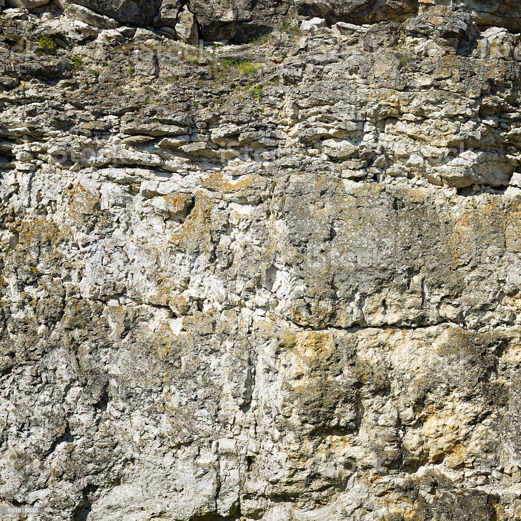 Geological section of sedimentary rocks. stock photo