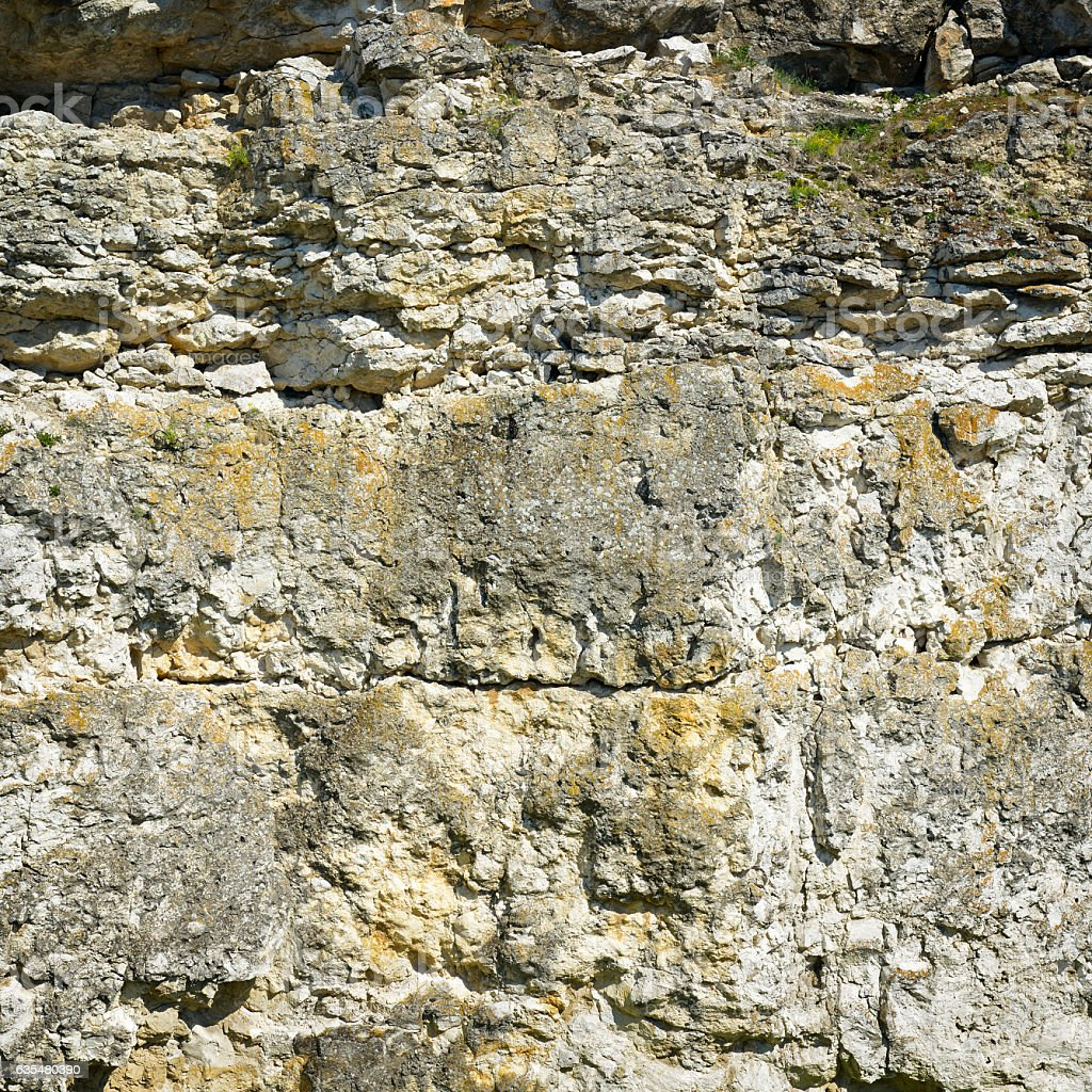 Geological section of sedimentary rocks stock photo