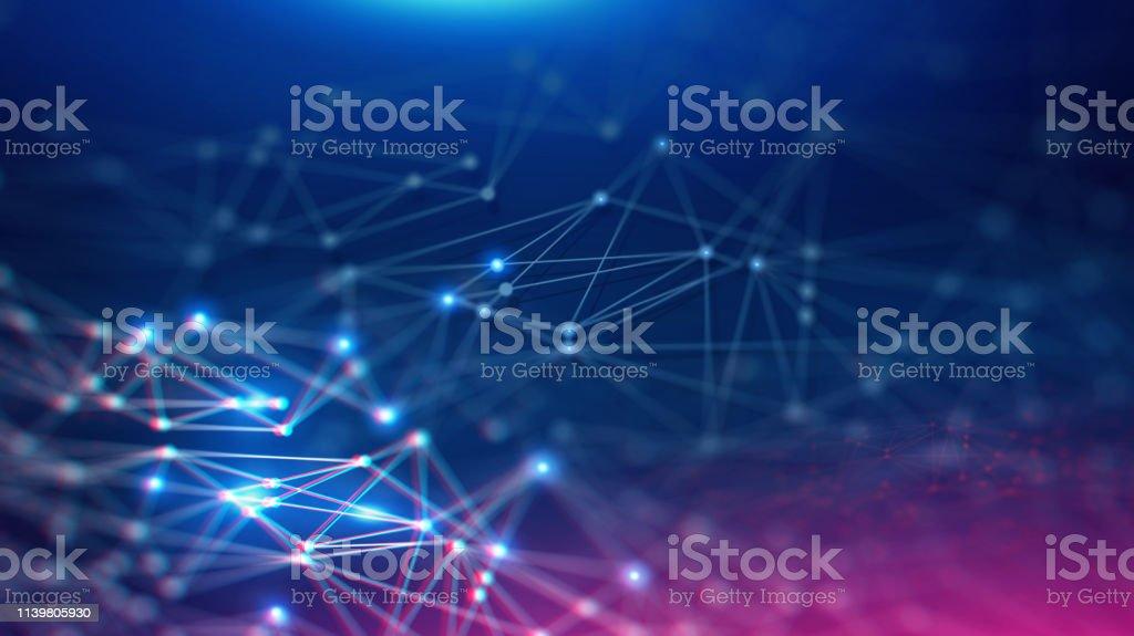 Geometric and Futuristic digital blockchain fintech technology. - Zbiór zdjęć royalty-free (Abstrakcja)