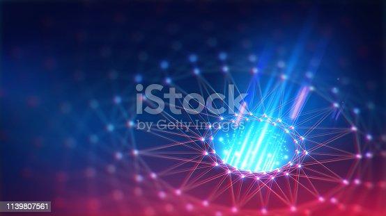 istock Geometric and Futuristic digital blockchain fintech technology. 1139807561