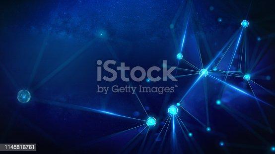istock Geometric and Futuristic digital blockchain fintech technology. 1145816761