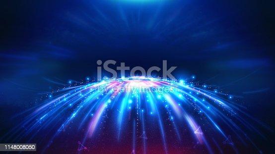 istock Geometric and Futuristic digital blockchain fintech technology. 1148008050