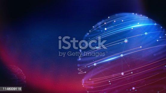 istock Geometric and Futuristic digital blockchain fintech technology. 1148009115