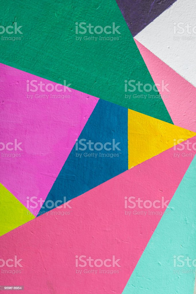 Geometric background of wall with bright tones.  pop art style stock photo