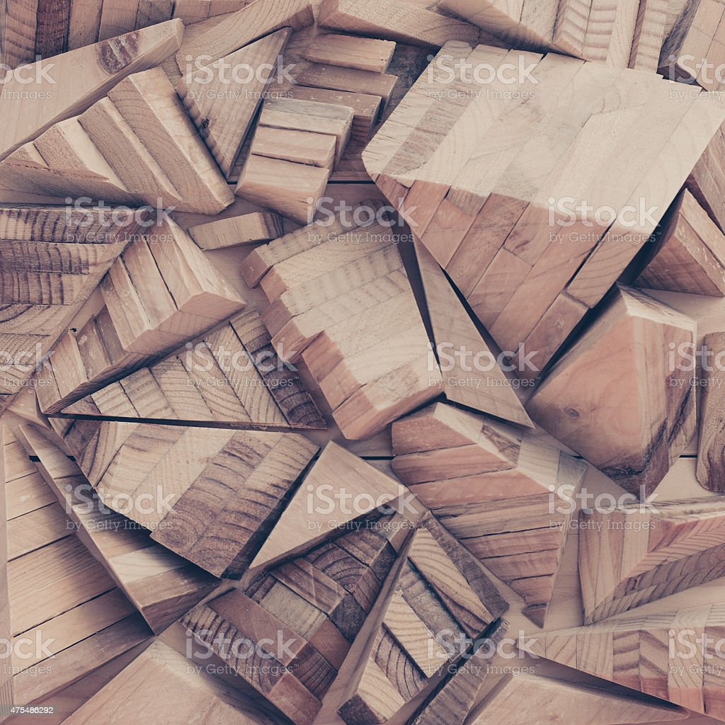 geometric background of wood pieces. stock photo