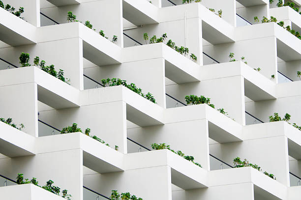 Geometric Balcony Gardens Exclusive balconies adorn a chic building. right angle stock pictures, royalty-free photos & images