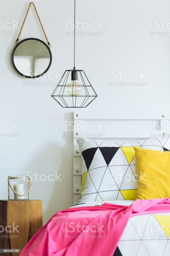 Geometric Bedroom With Round Mirror Stock Photo Download Image Now Istock