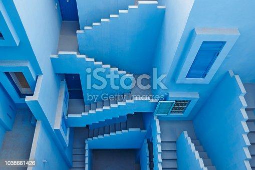 istock Geometric building design. The red wall, La manzanera. Calpe 1038661426