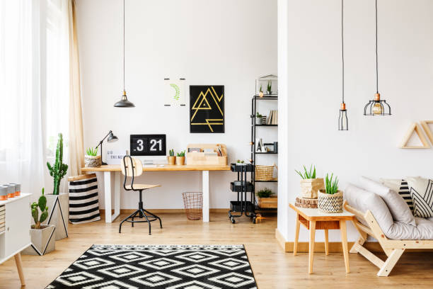 geometric carpet in multifuncional workspace - home office stock photos and pictures
