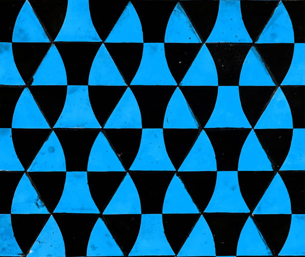 Geometric cement tile textured in blue stock photo