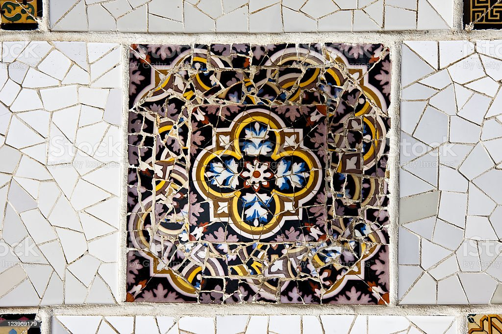 Geometric Ceramic Mosaic by Gaudì, Barcelona in Spain royalty-free stock photo