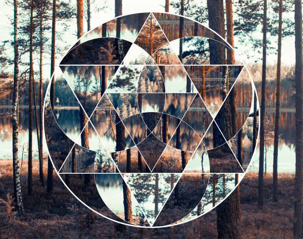Geometric collage with the lake and nordic forest, sacred geometry stock photo