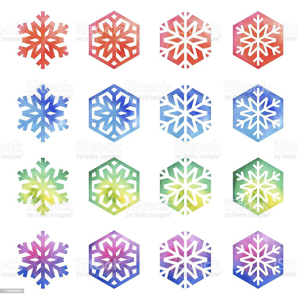 Geometric Colorful Snowflakes royalty-free stock photo