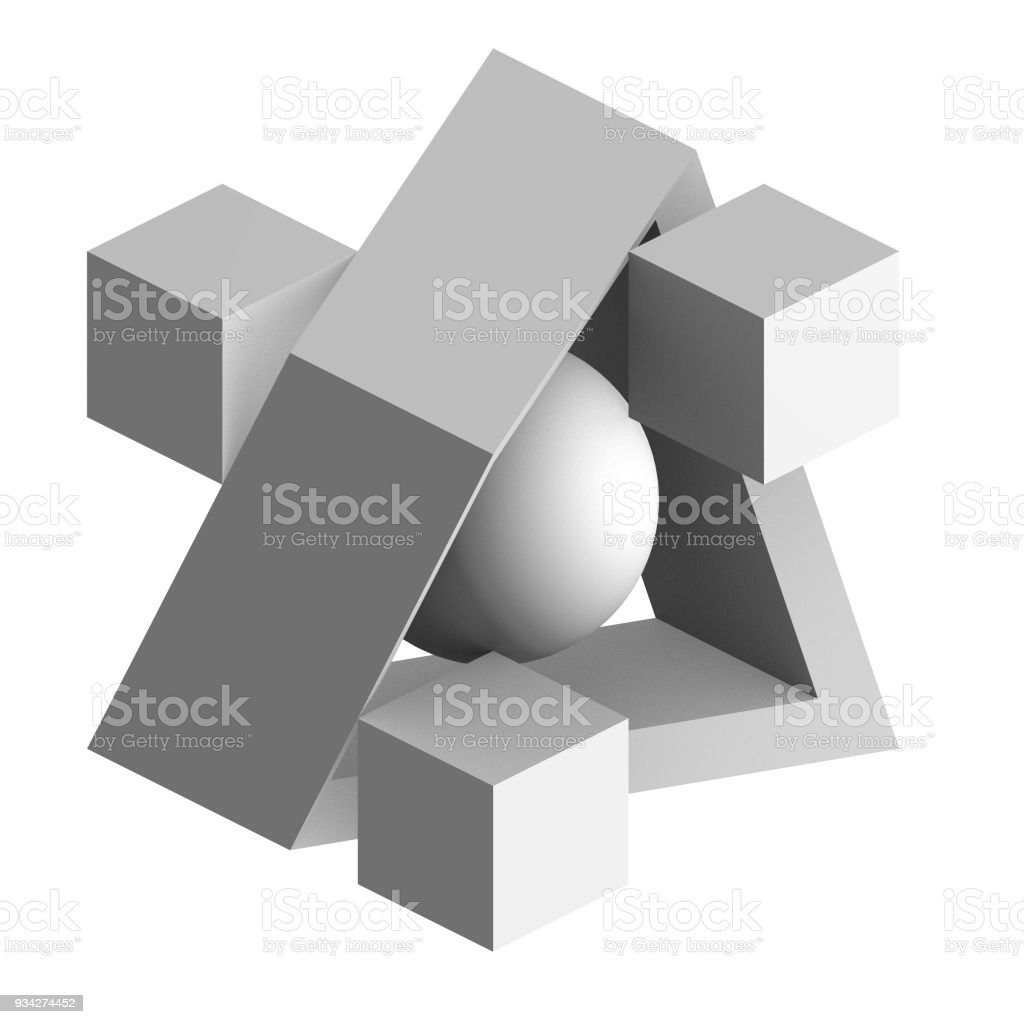 3D geometric composition. Abstract architectural design. Black and white 3D render of modern sculpture on white background. stock photo