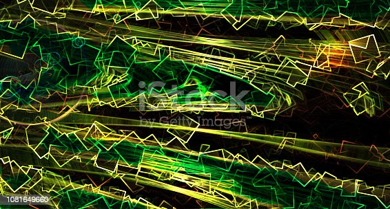istock Geometric composition - flying geometry shapes background, computer generated illustration, 3d render 1081649660
