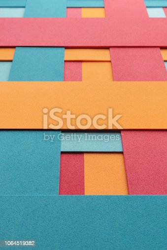 532107582istockphoto Geometric composition with colored elements, abstract background 1064519382