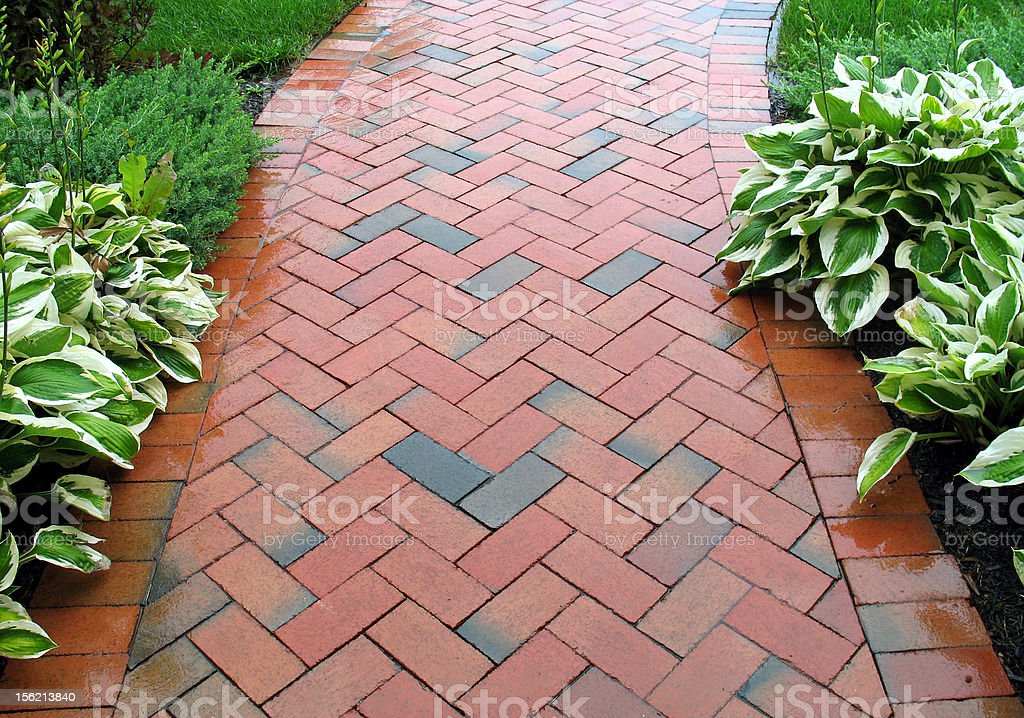 Geometric Design - Brickwalk Landscaping stock photo