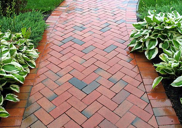 Geometric Design - Brickwalk Landscaping stock photo