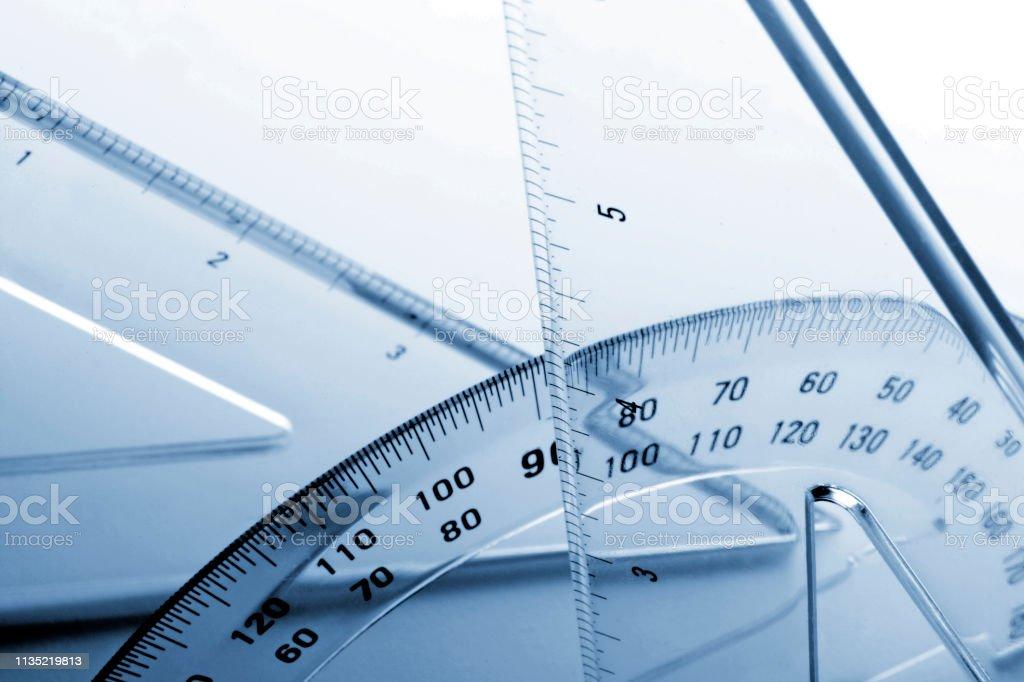 Geometric Drafting Tools stock photo