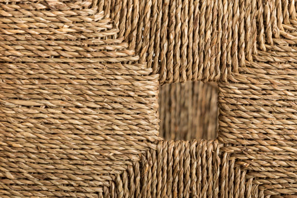 Geometric figure made with esparto grass ropes stock photo