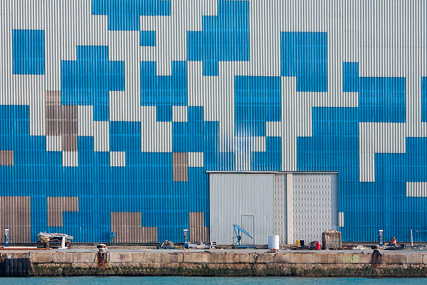Geometric forms wall stock photo