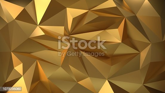 3d illustration. Geometric gold 3d background of the particle. Polygonal architectural ornament.