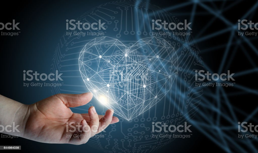 Geometric heart in hand. stock photo