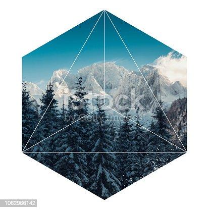istock Geometric landscape hexagon mountain 1062966142