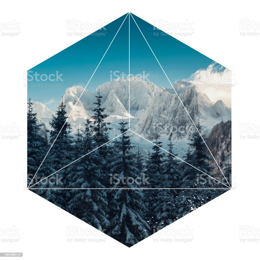 Geometric landscape hexagon mountain stock photo