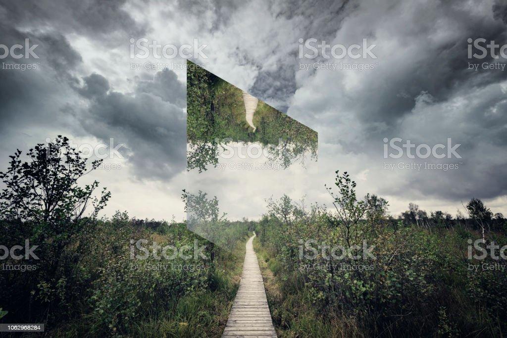 Geometric landscape path in nature stock photo