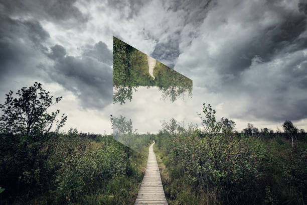 geometric landscape path in nature - abstract logo stock photos and pictures