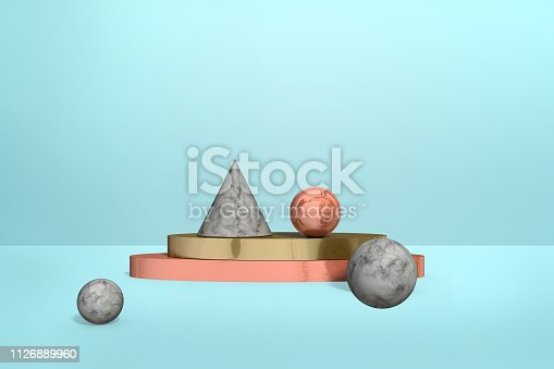 Geometric marble, gold, rose gold shapes - spheres, cones on pastel blue color background, abstract realistic composition in minimalism style, 3D renderin