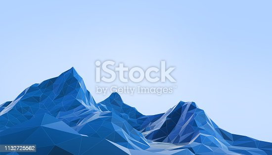 istock Geometric Mountain Landscape art Low poly with Colorful Blue Background- 3d rendering 1132725562
